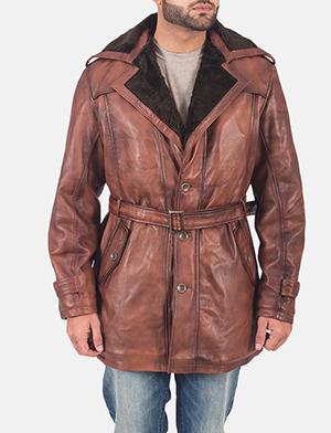 Mens Hunter Brown Fur Leather Coat 1