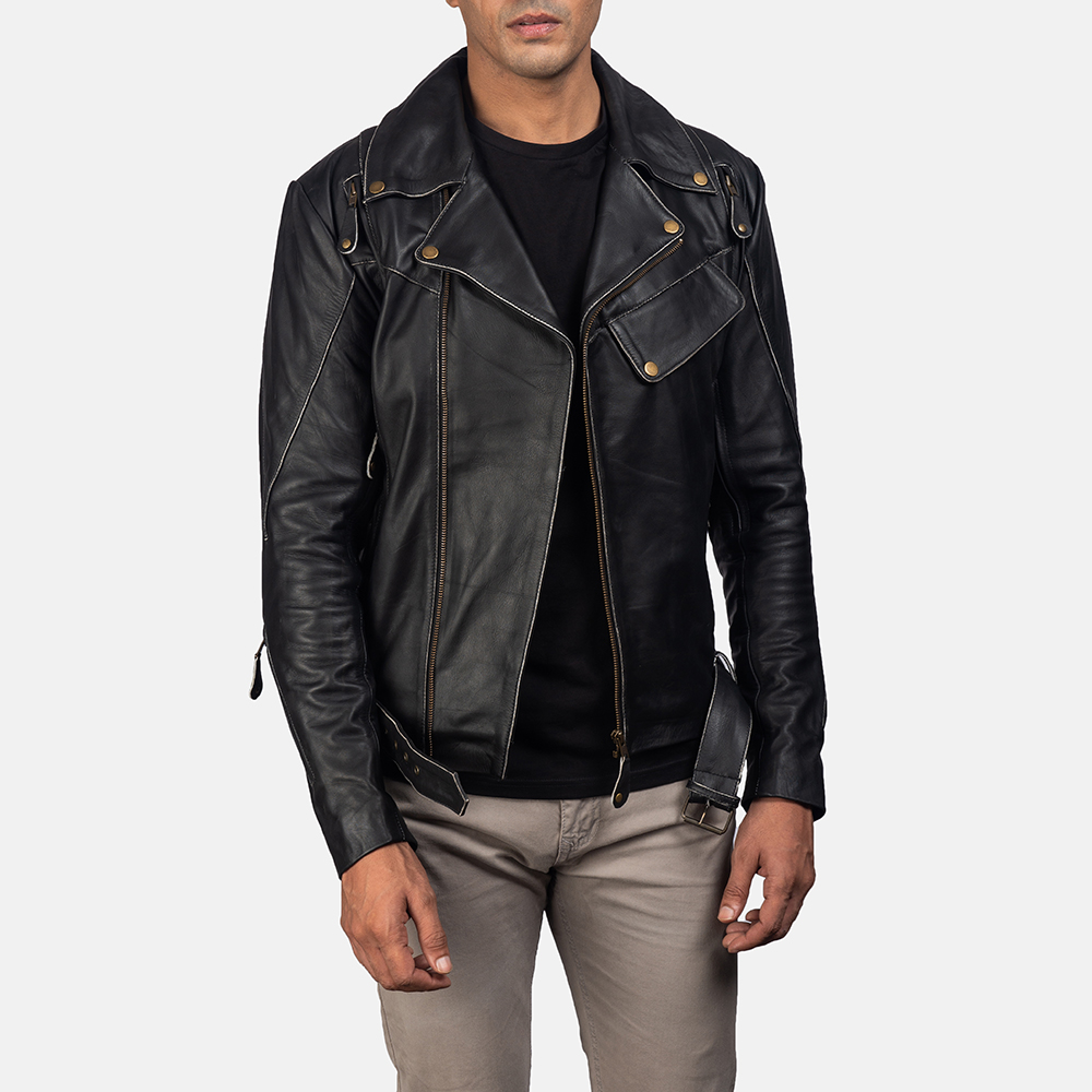 Mens Vincent Black Leather Biker Jacket 1