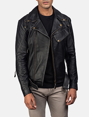 Mens Vincent Black Leather Biker Jacket