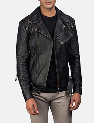 Mens Vincent Black Leather Biker Jacket