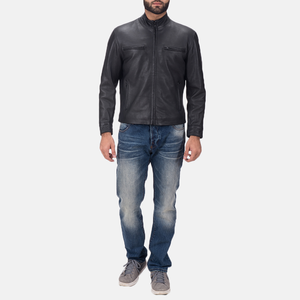 Men's Austere Matte Black Leather Biker Jacket 2