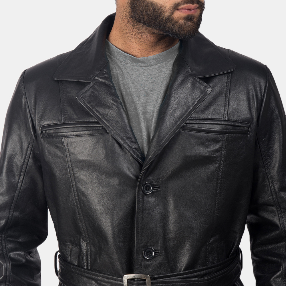 Men's Jordan Black Leather Coat 6