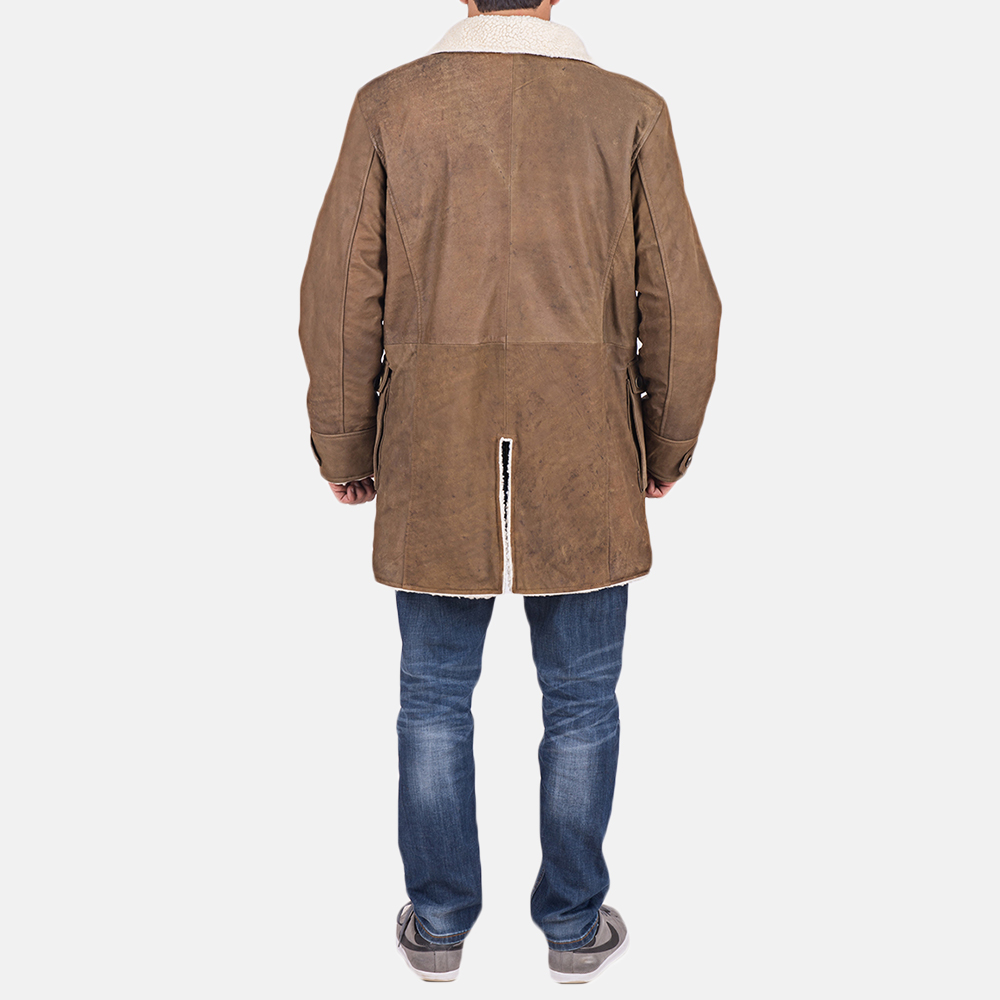 Mens Wyatt Brown Fur Leather Coat 6