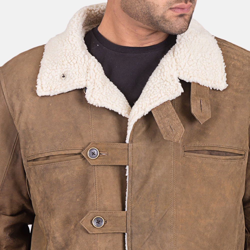 Mens Wyatt Brown Fur Leather Coat 5