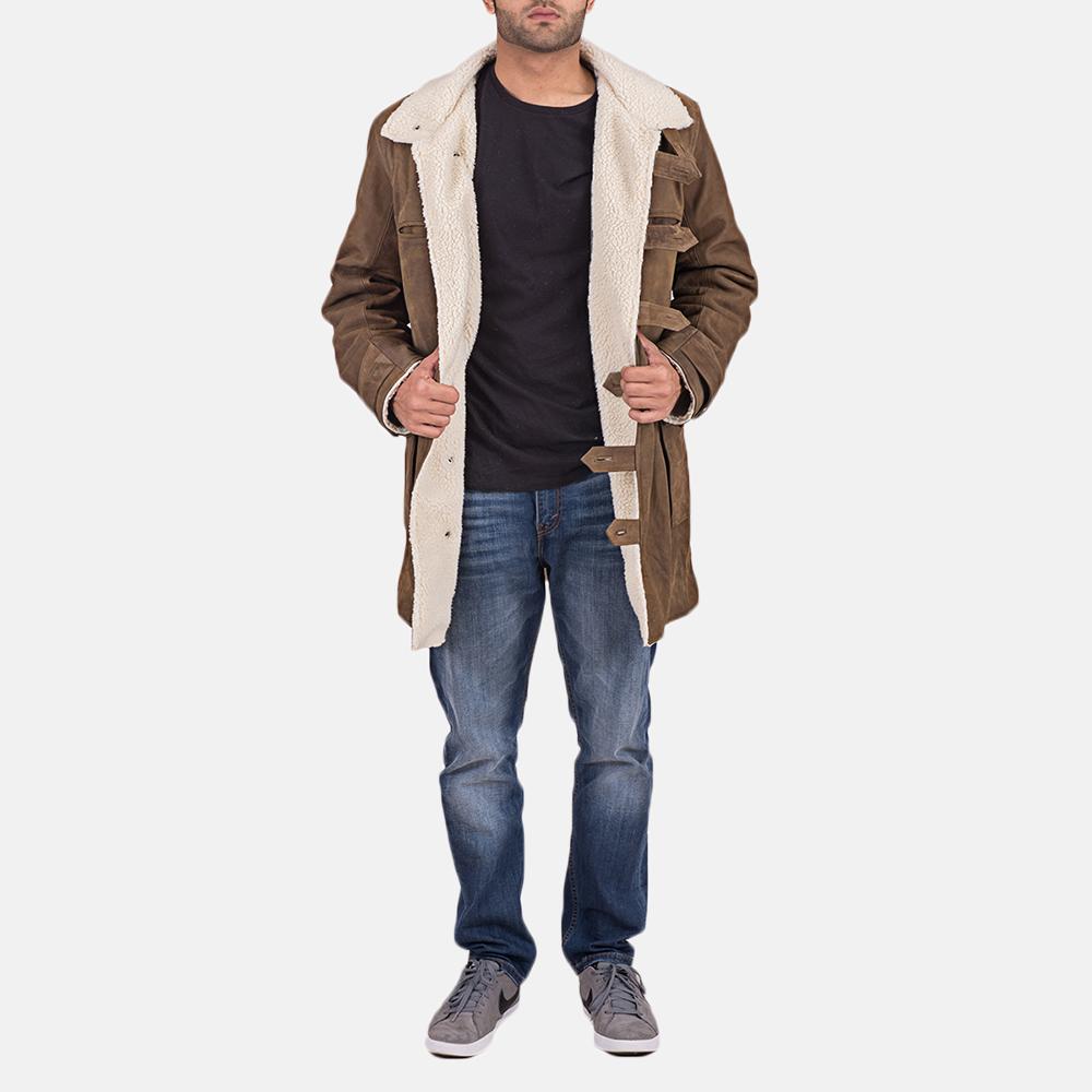 Mens Wyatt Brown Fur Leather Coat 2
