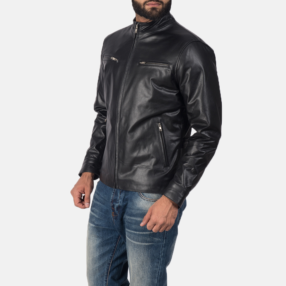 Mens Austere Black Leather Biker Jacket 3