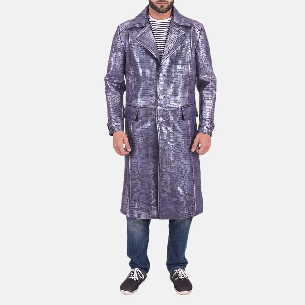 Mens Crocodile Purple Leather Coat 2