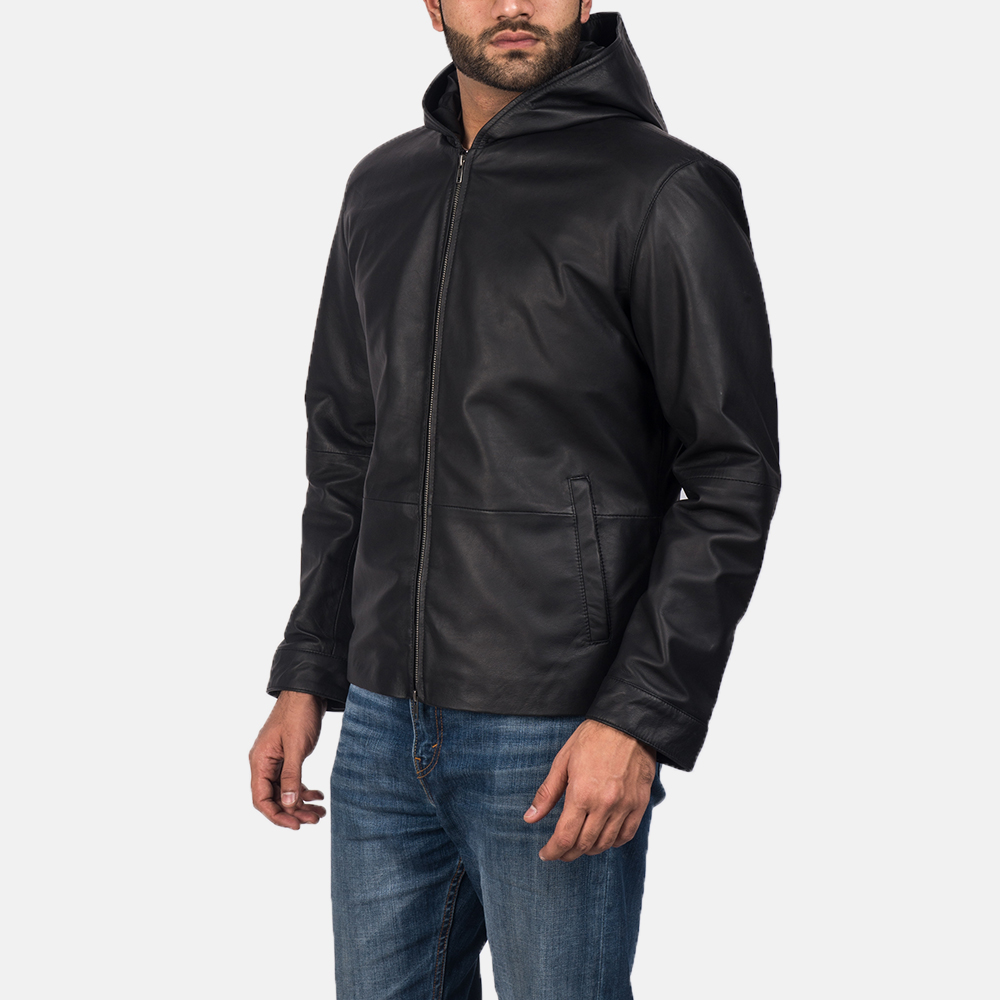 Men's Andy Matte Black Hooded Leather Jacket 2