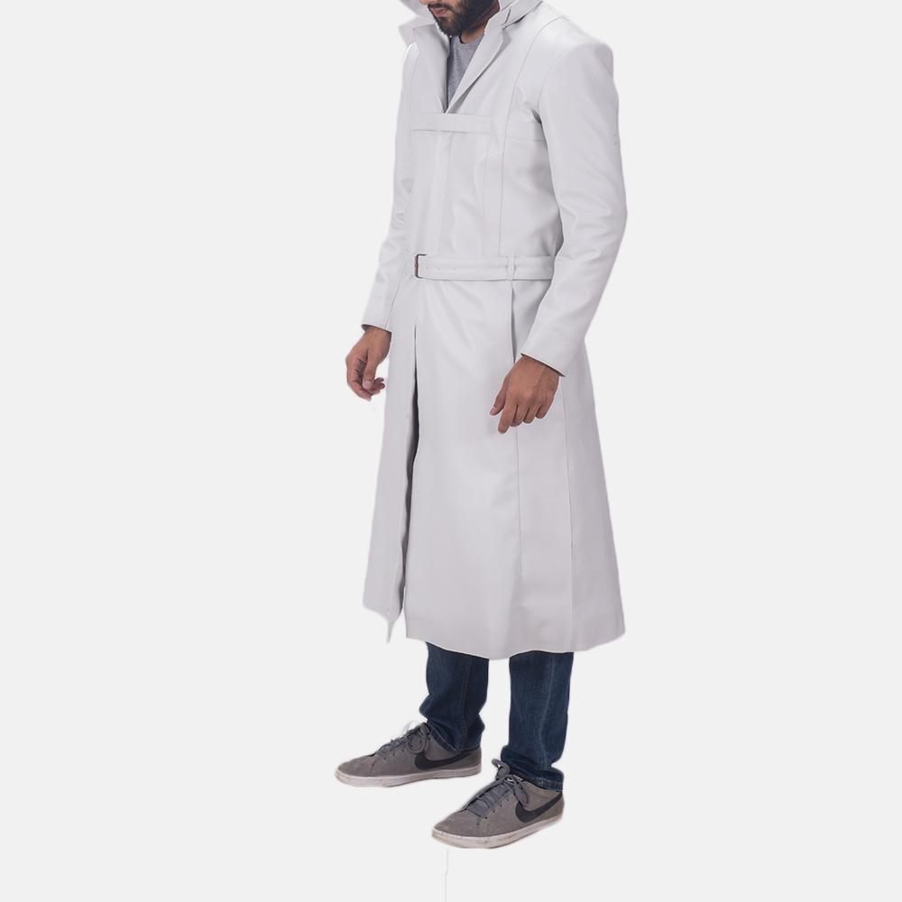 Auburn Cane White Leather Coat 3