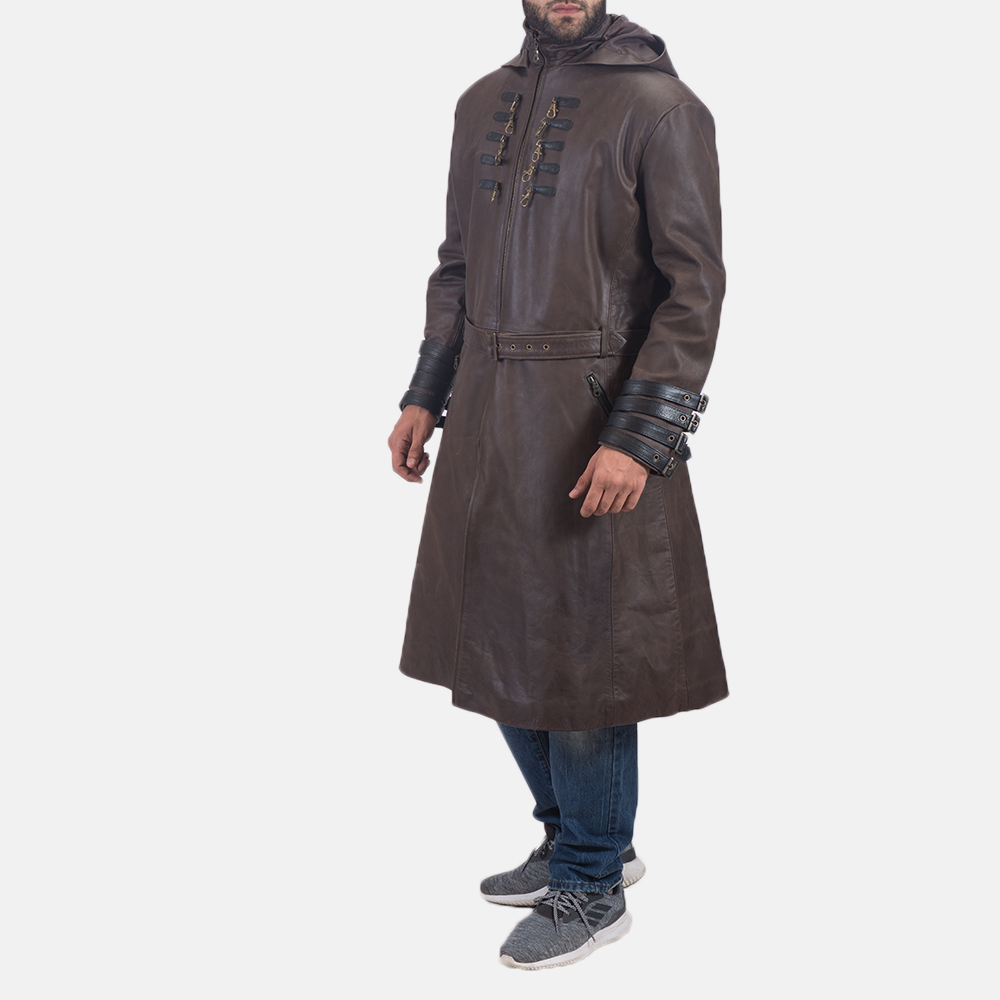 Men's Architect Brown Leather Trench Coat 4
