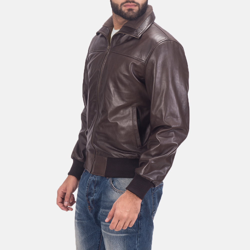Men's Air Rolf Brown Leather Bomber Jacket 3