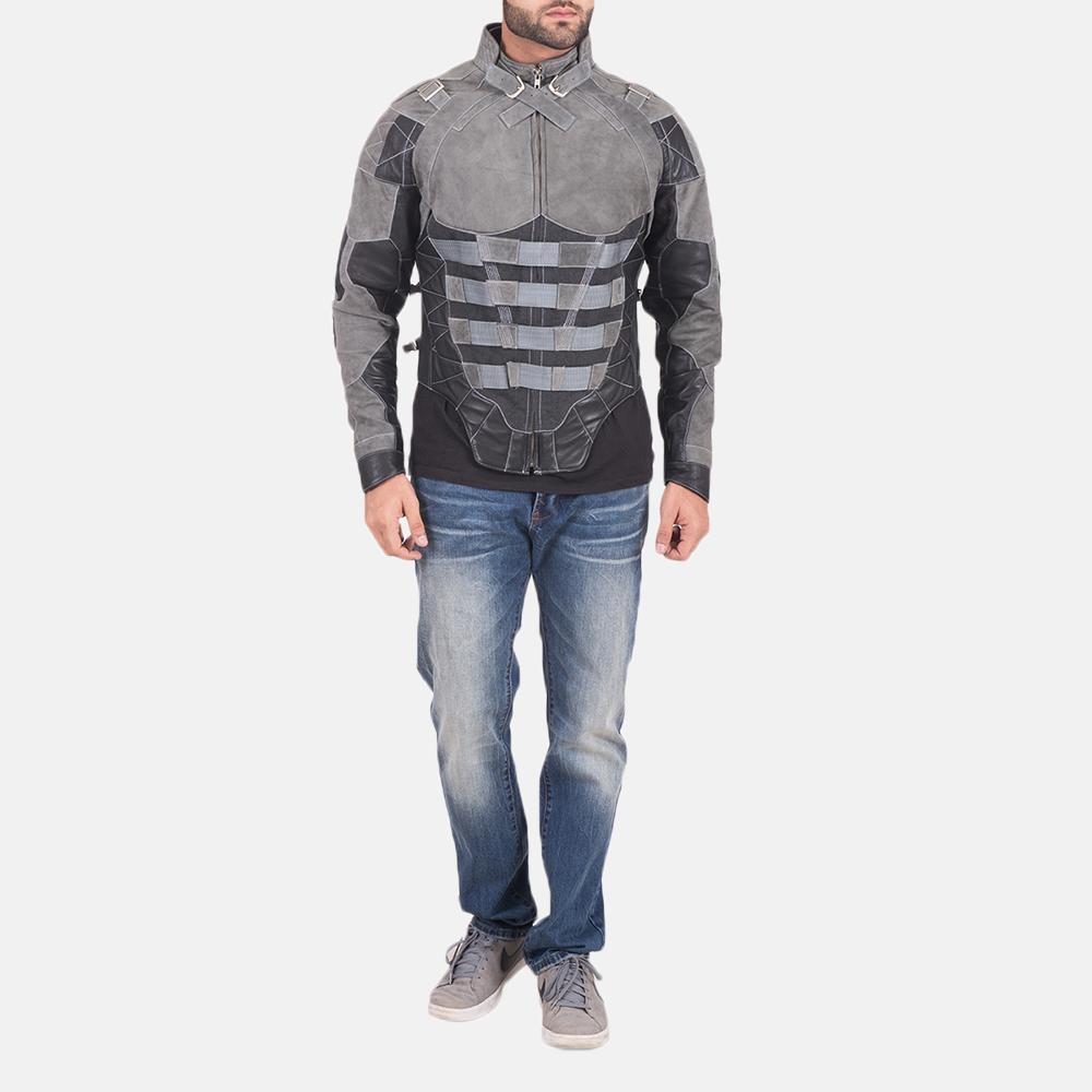 Militia Grey Leather Jacket 2
