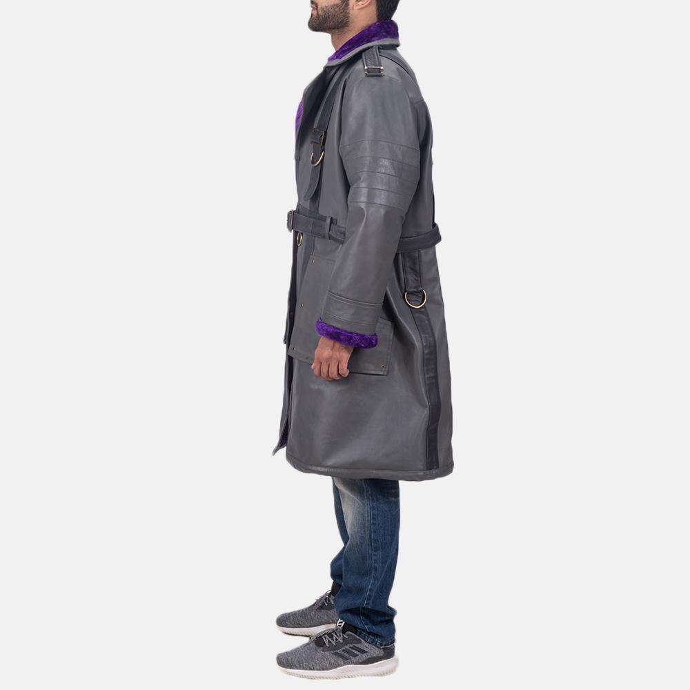 Mens Vintage Cole Grey Leather Coat 4