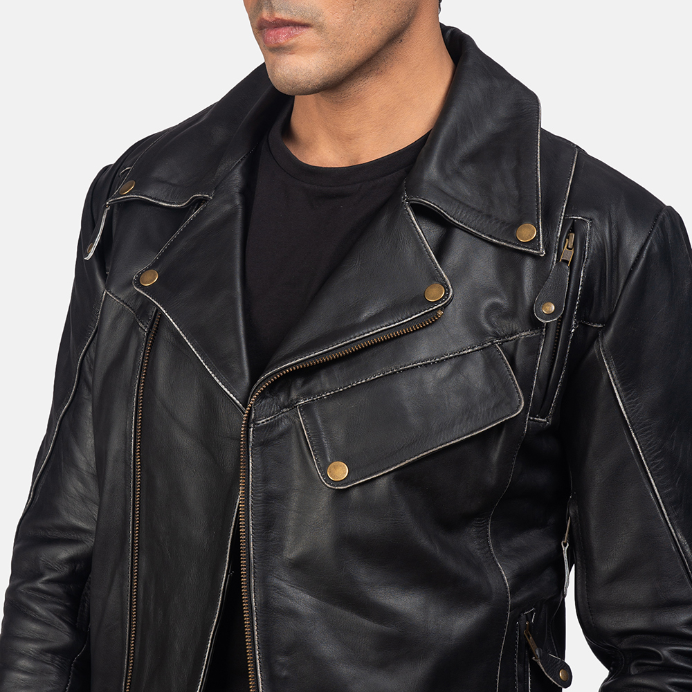 Mens Vincent Black Leather Biker Jacket 6