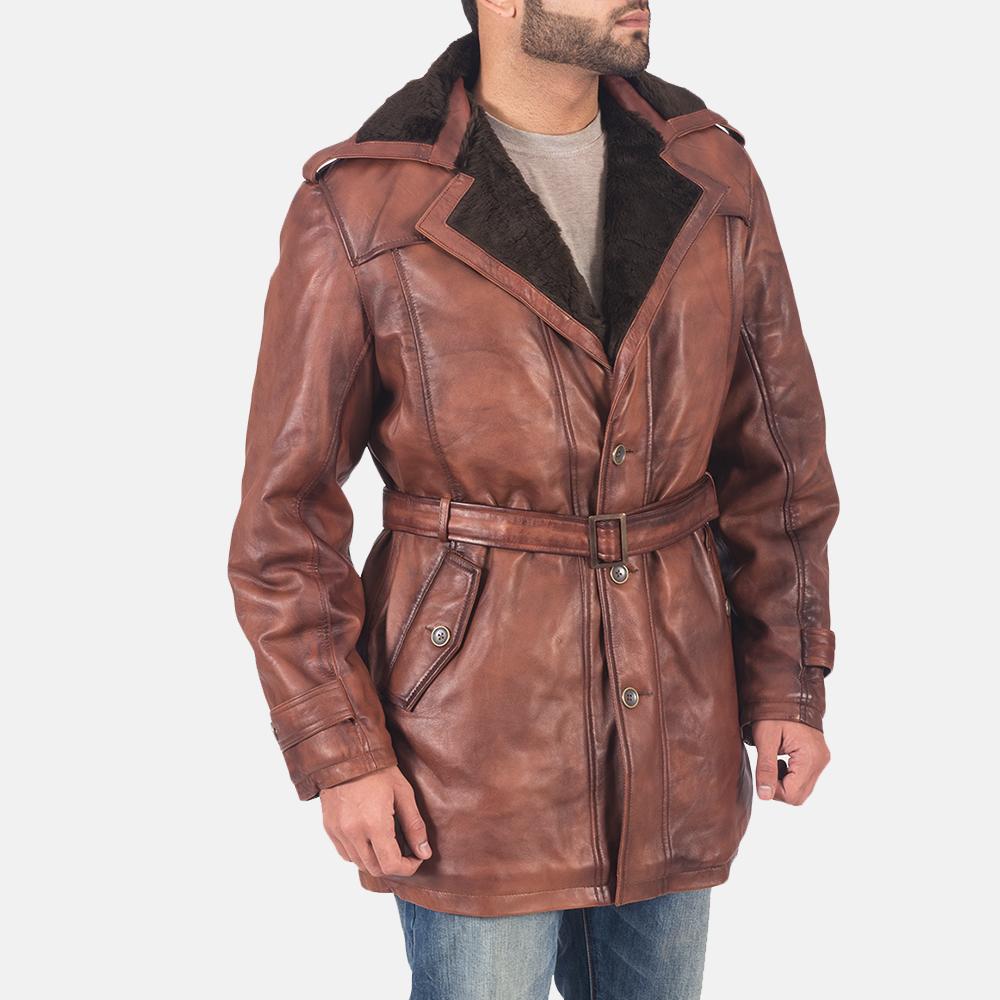 Mens Hunter Brown Fur Leather Coat 5