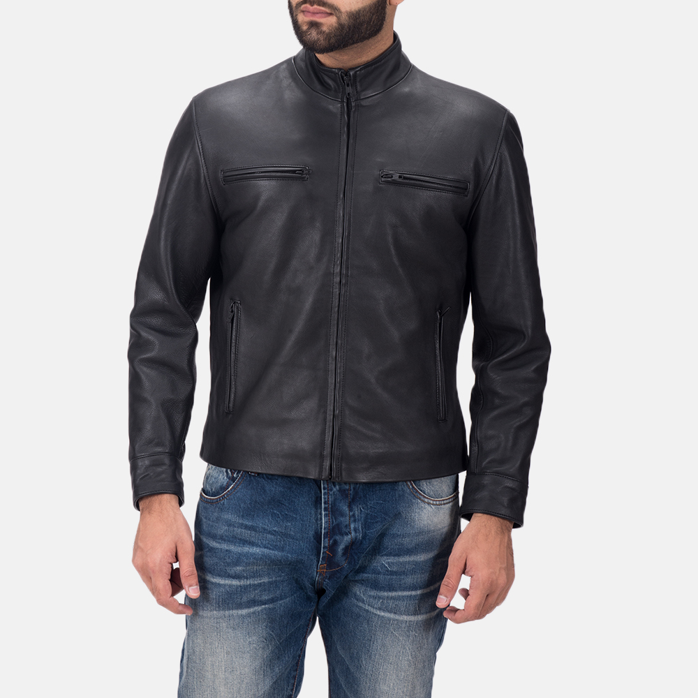 Men's Austere Matte Black Leather Biker Jacket 1