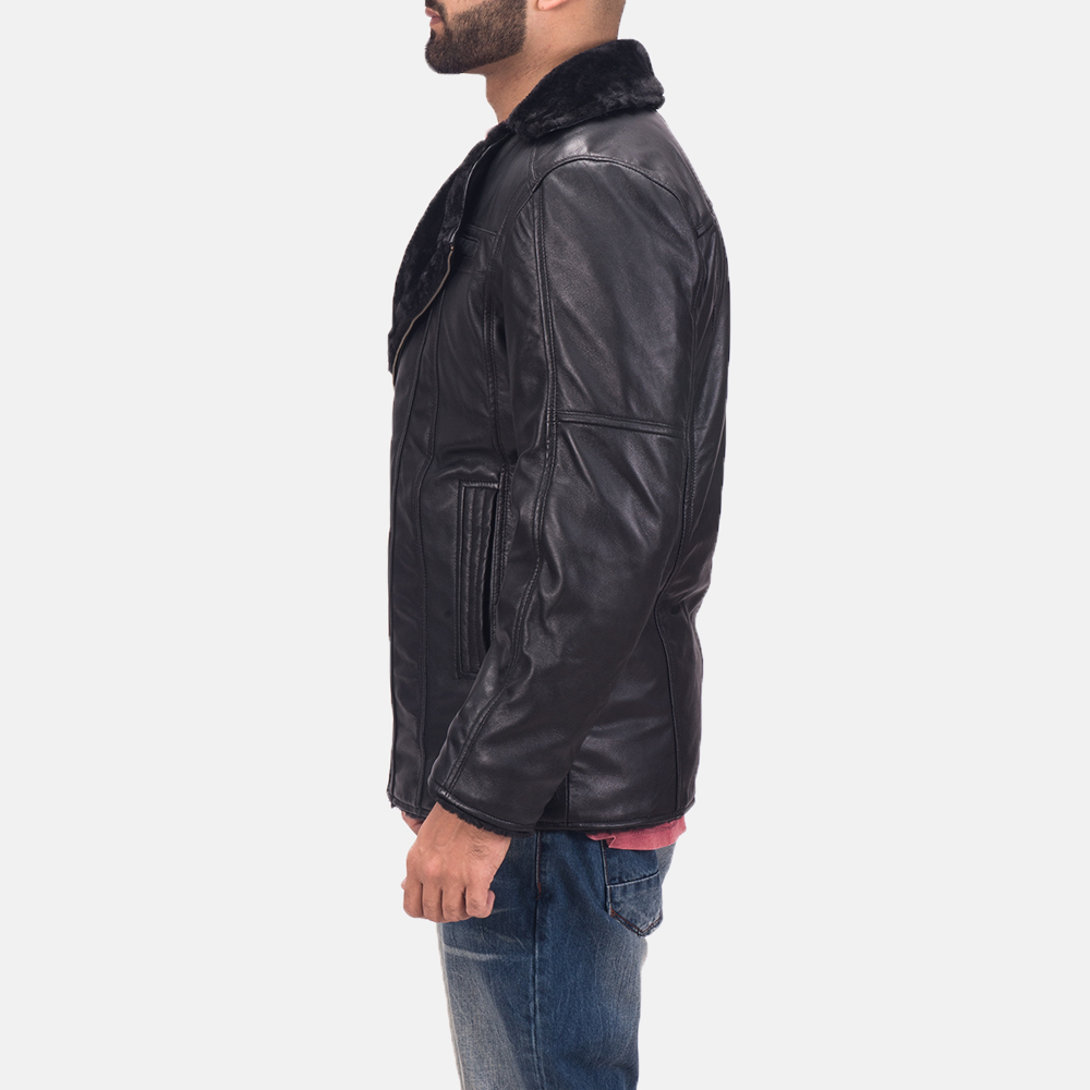 Men's Ambrose Black Leather Jacket 5