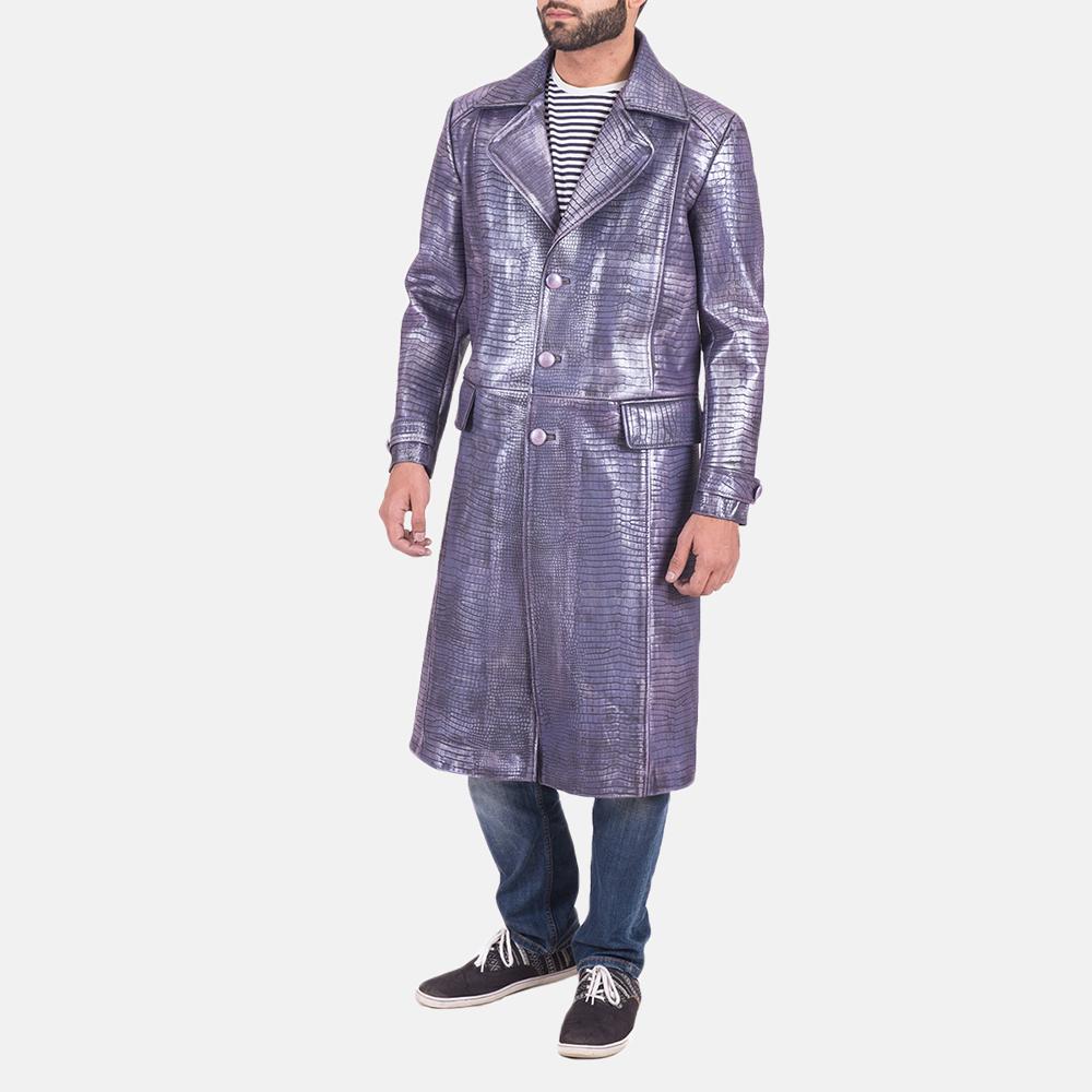 Mens Crocodile Purple Leather Coat 3