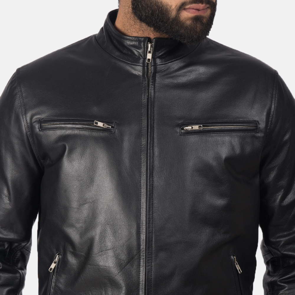 Mens Austere Black Leather Biker Jacket 6