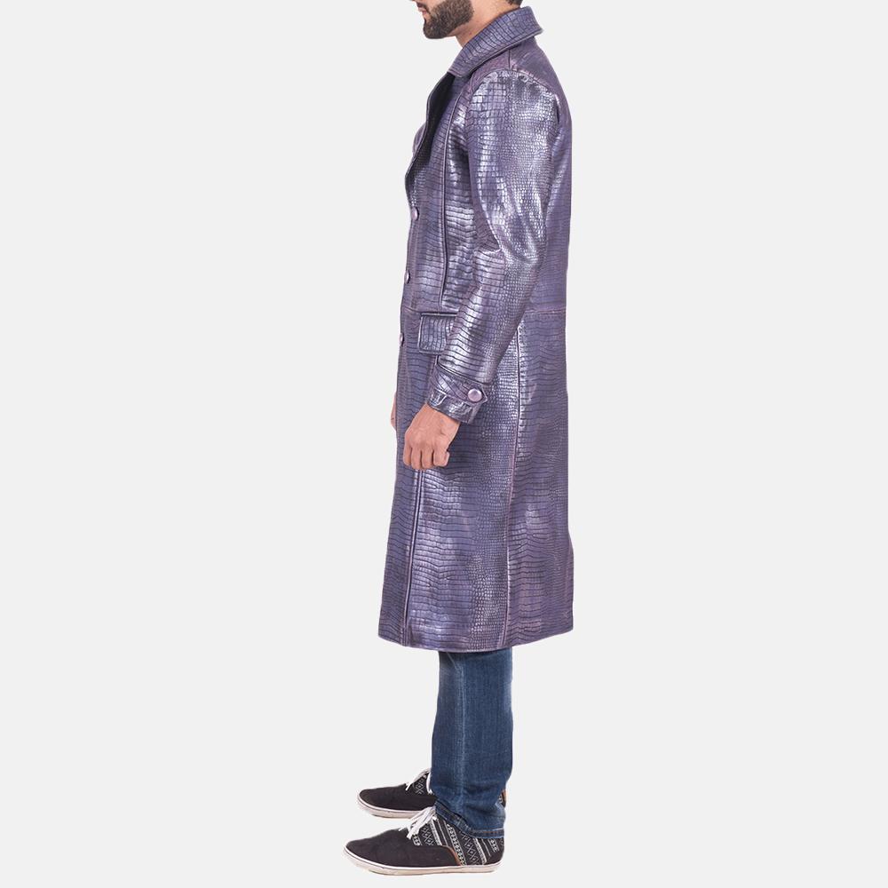 Mens Crocodile Purple Leather Coat 4