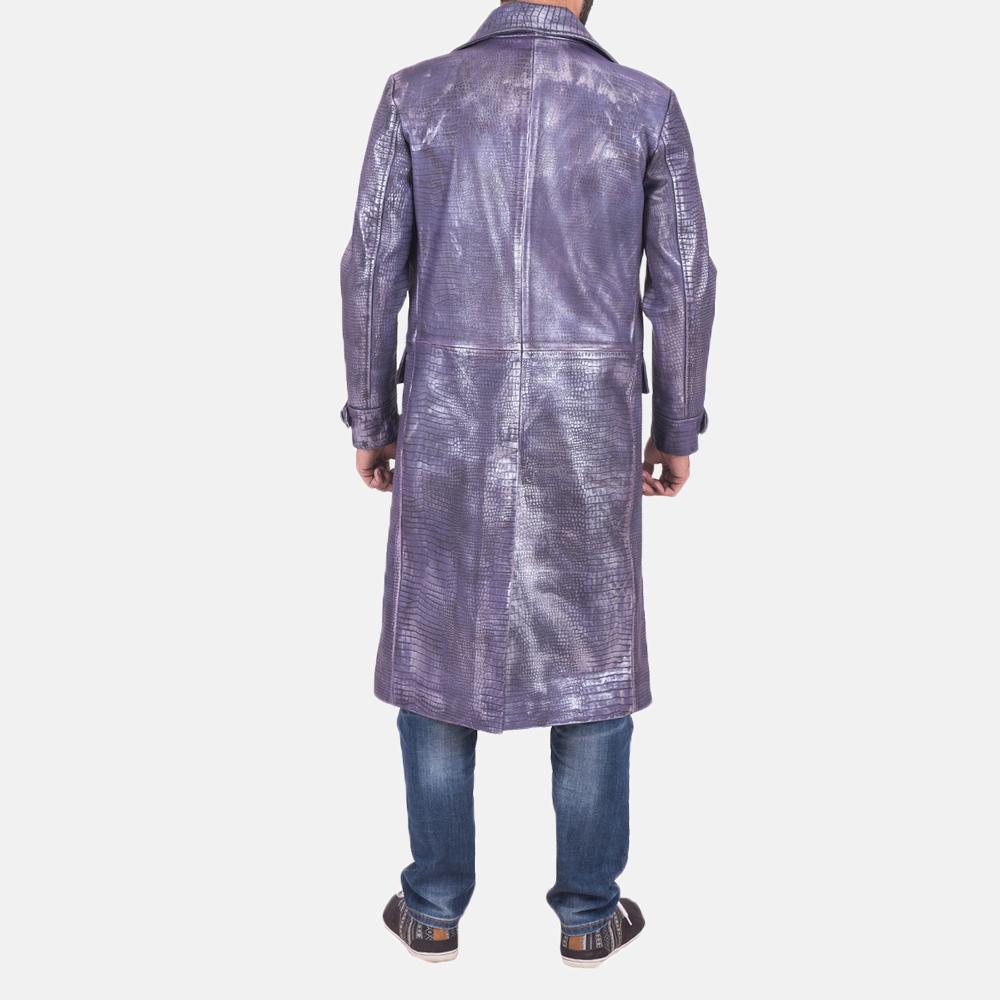 Mens Crocodile Purple Leather Coat 5