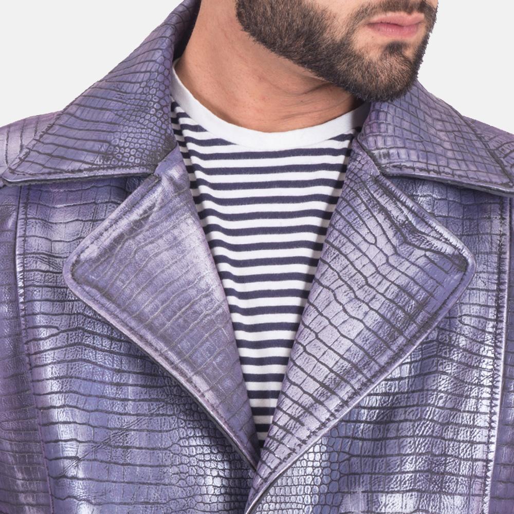 Mens Crocodile Purple Leather Coat 6