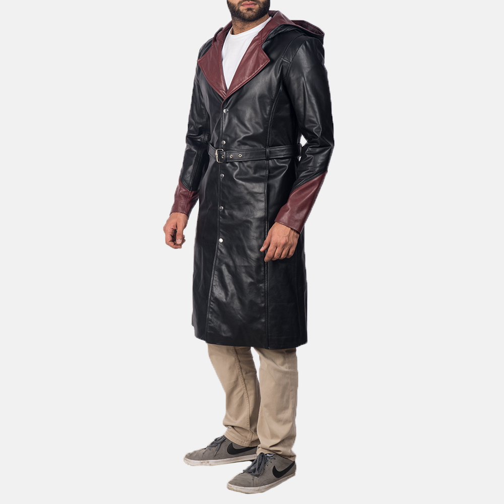Mens Devil Black Leather Coat 3