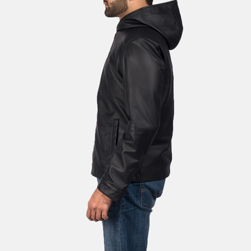 Men's Andy Matte Black Hooded Leather Jacket 3