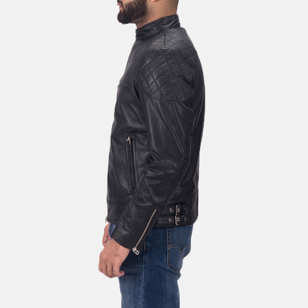 Mens Gatsby Black Leather Biker Jacket 4