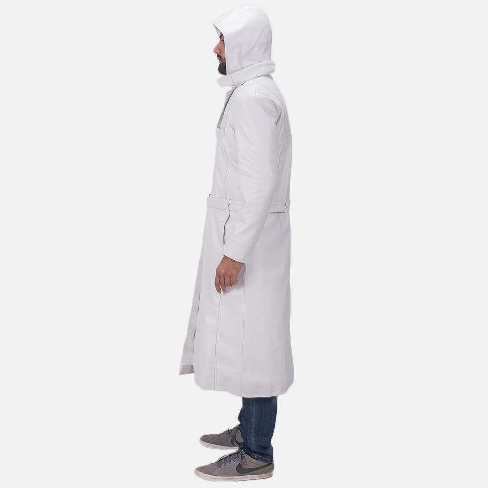 Auburn Cane White Leather Coat 4