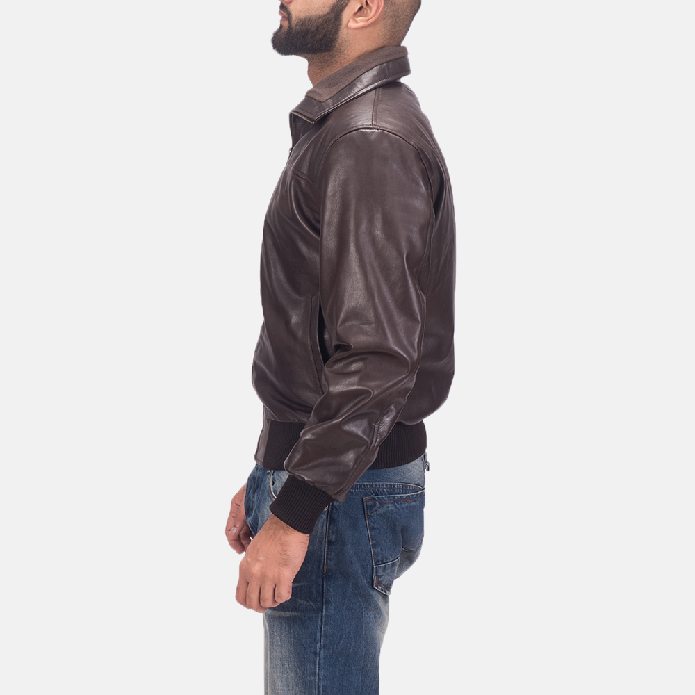 Men's Air Rolf Brown Leather Bomber Jacket 5