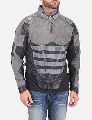 Militia Grey Leather Jacket