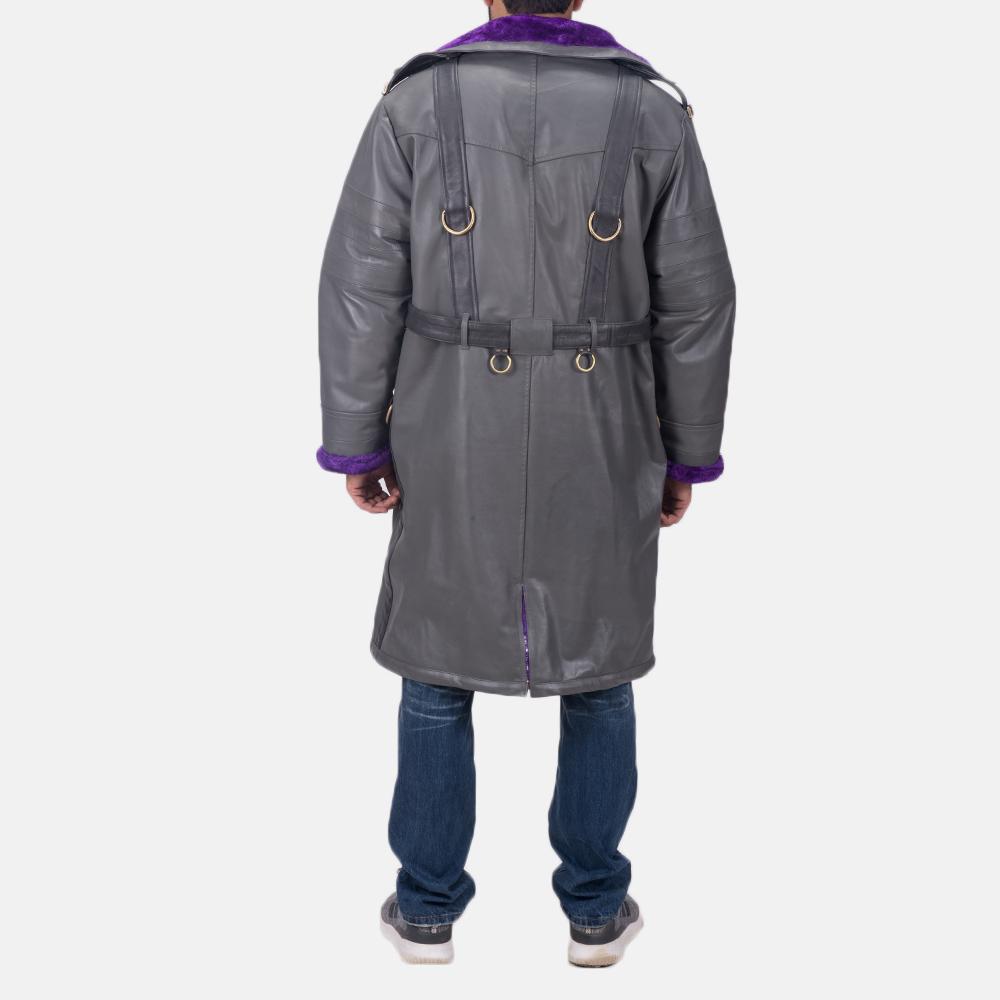 Mens Vintage Cole Grey Leather Coat 5