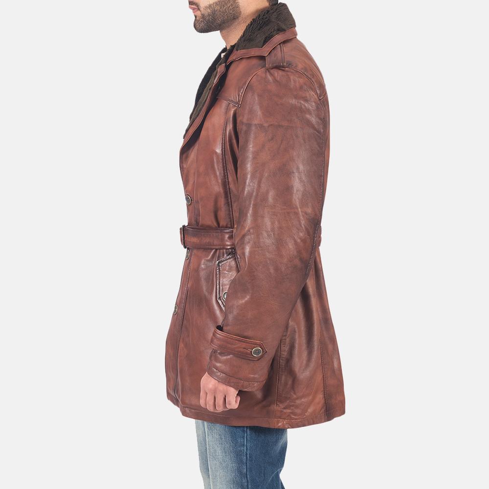 Mens Hunter Brown Fur Leather Coat 6