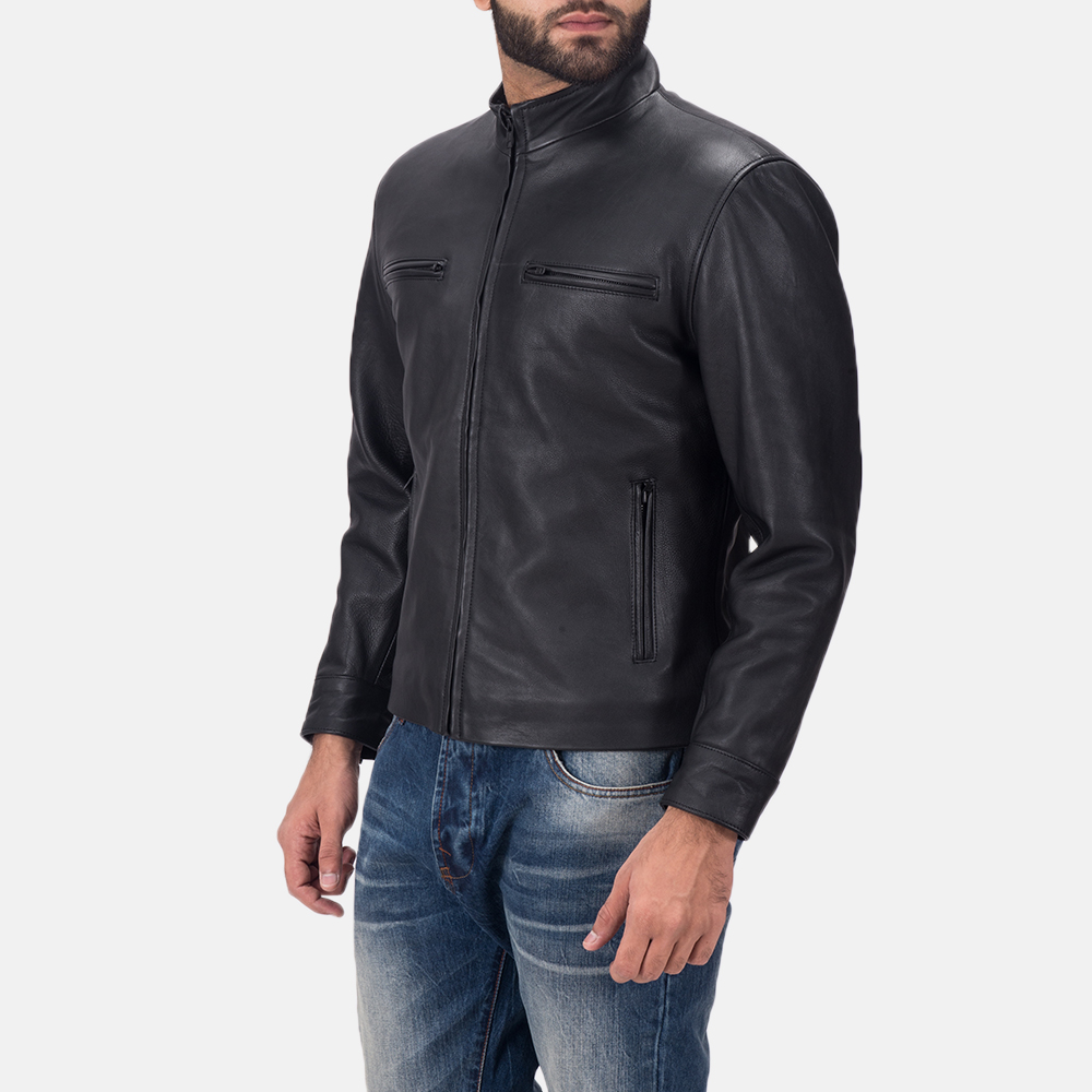 Men's Austere Matte Black Leather Biker Jacket 3