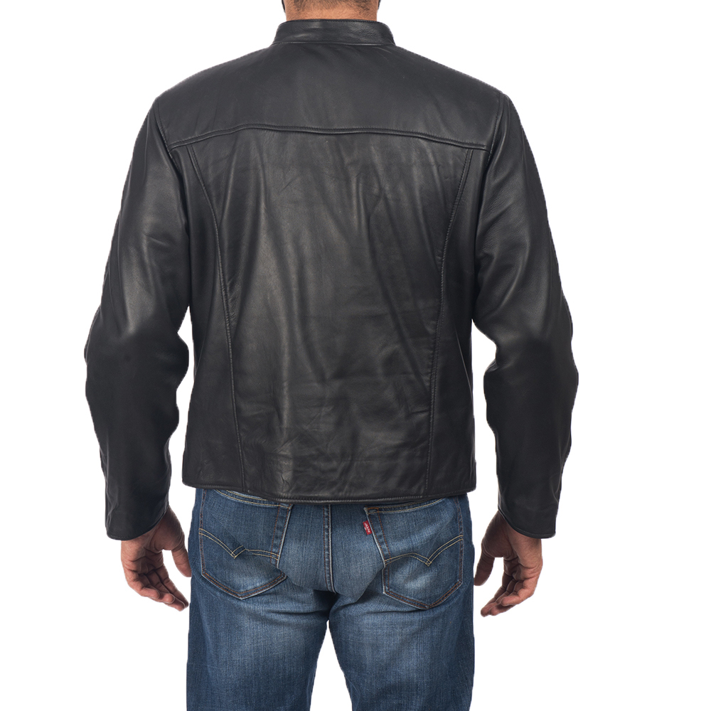 Mens Solemn Black Leather Biker Jacket 5