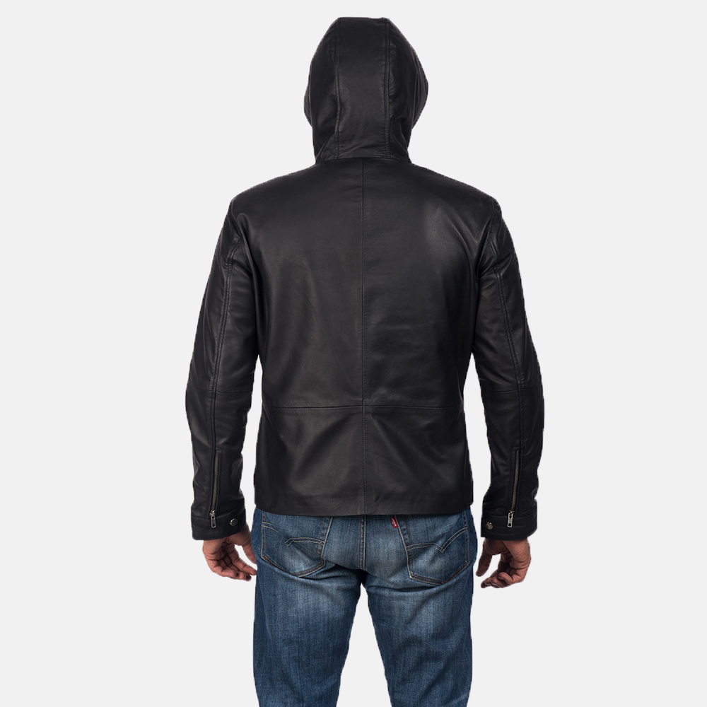 Men's Andy Matte Black Hooded Leather Jacket 4
