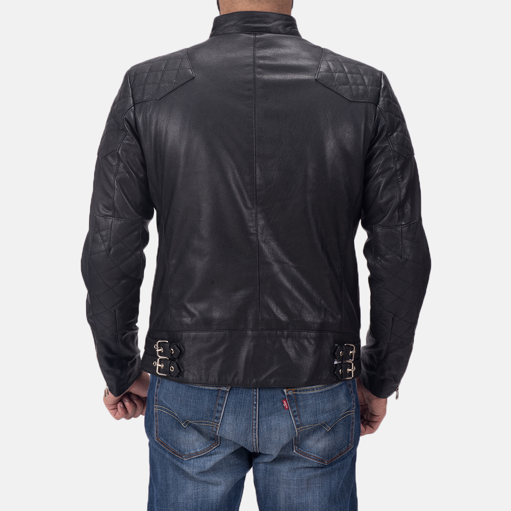 Mens Gatsby Black Leather Biker Jacket 5