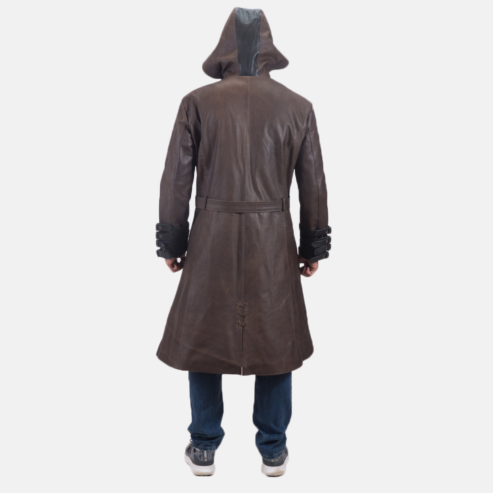 Men's Architect Brown Leather Trench Coat 6