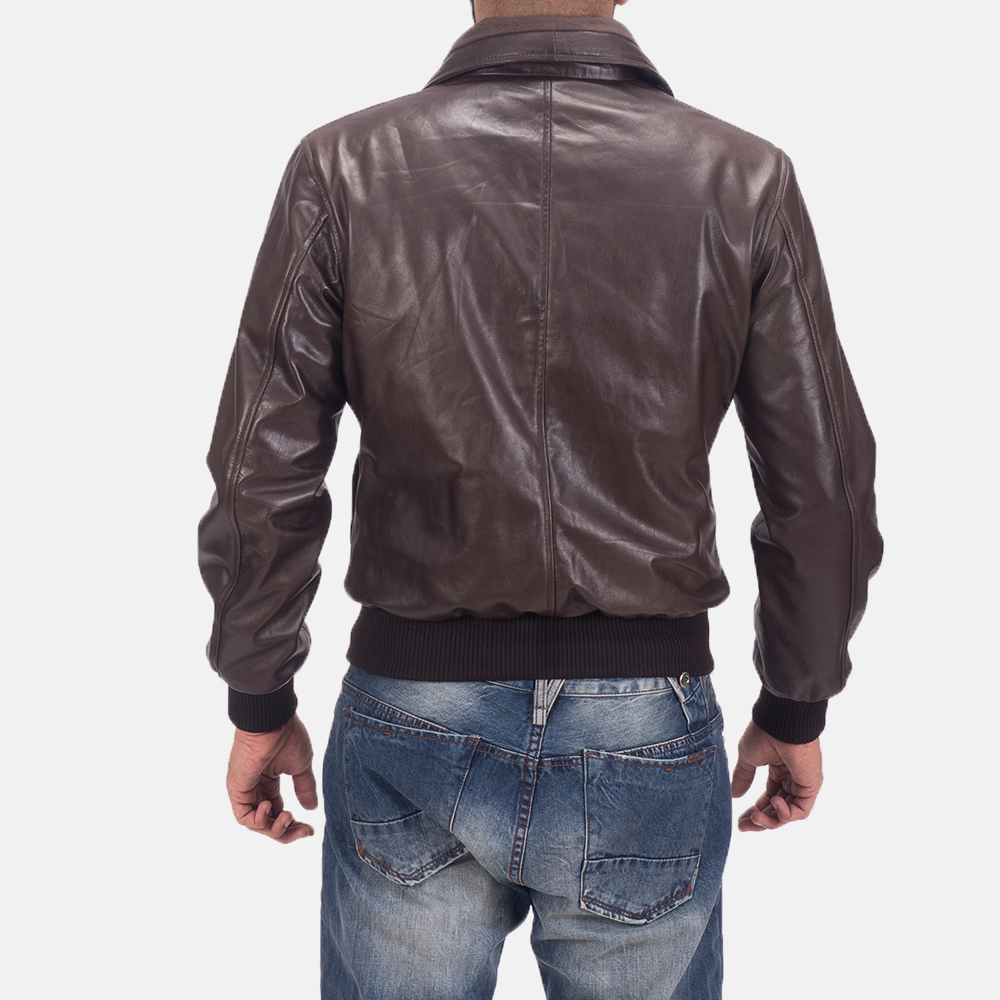 Men's Air Rolf Brown Leather Bomber Jacket 4