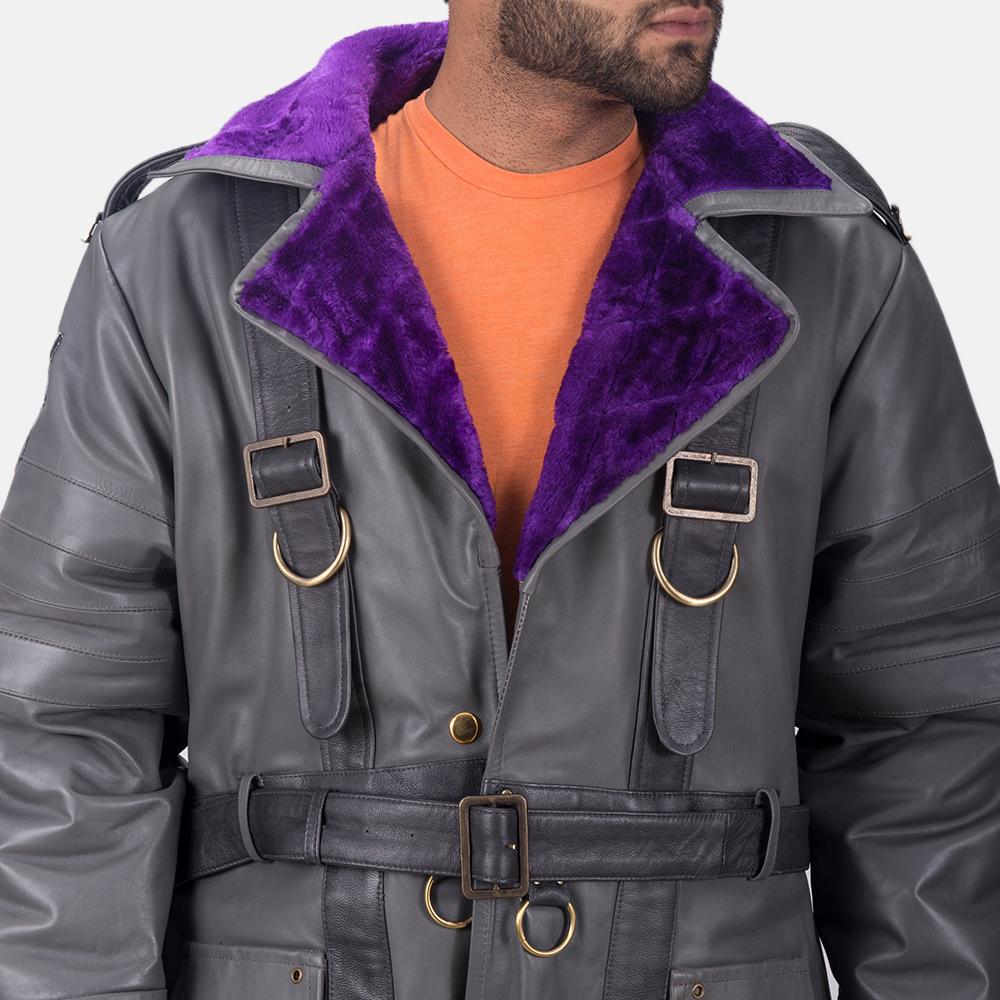 Mens Vintage Cole Grey Leather Coat 6