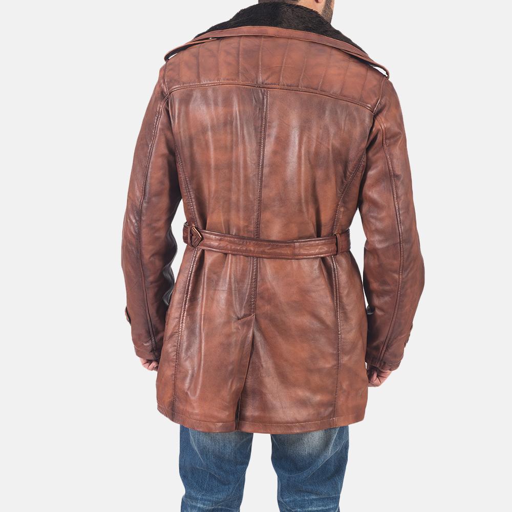 Mens Hunter Brown Fur Leather Coat 7