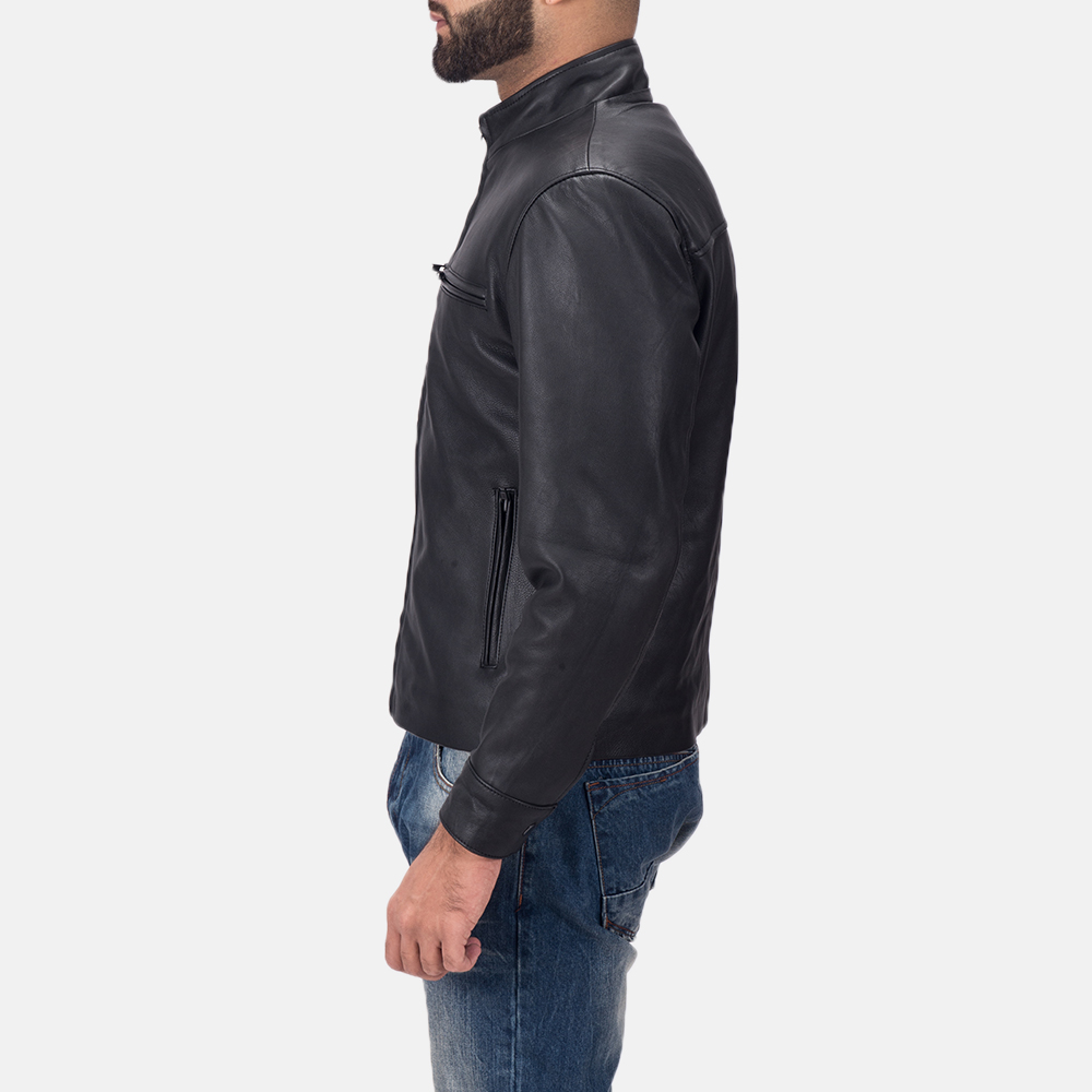 Men's Austere Matte Black Leather Biker Jacket 4