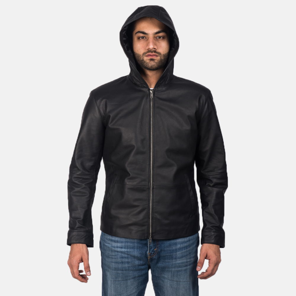 Men's Andy Matte Black Hooded Leather Jacket 7