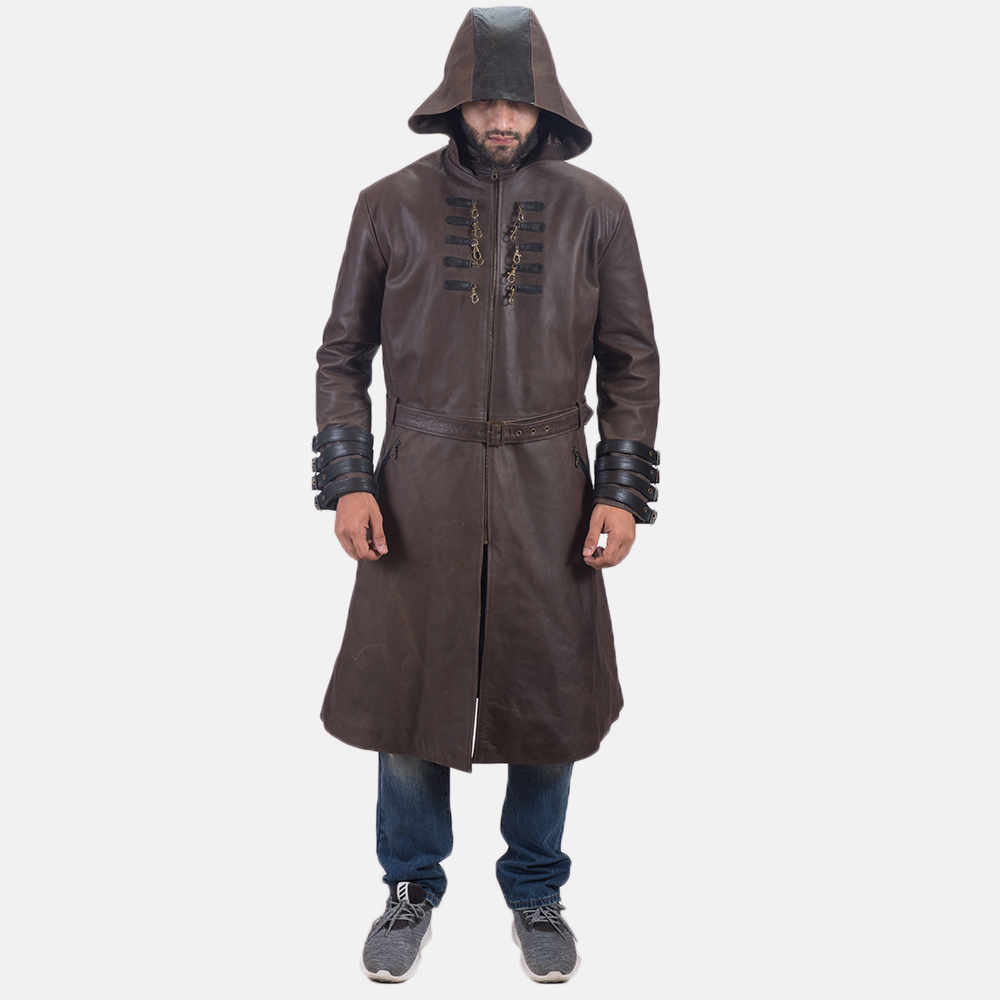 Men's Architect Brown Leather Trench Coat 7
