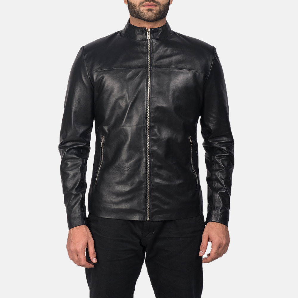 Mens Adornica Black Leather Jacket 5