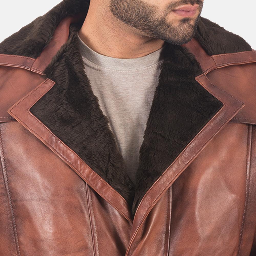 Mens Hunter Brown Fur Leather Coat 4