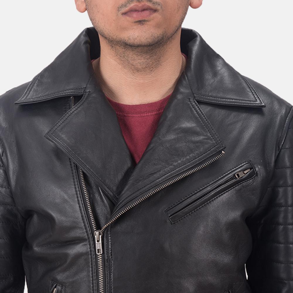 Men's Luther Black Leather Biker Jacket 5