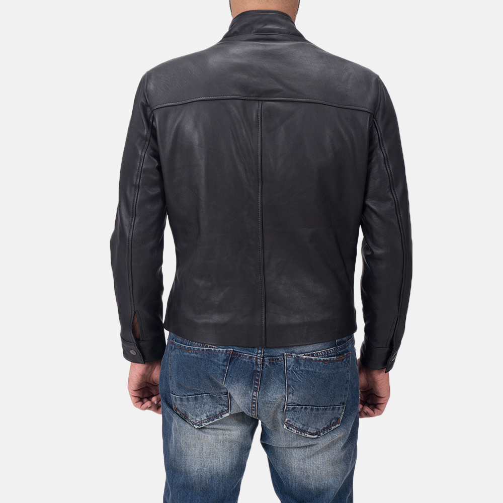 Men's Austere Matte Black Leather Biker Jacket 5