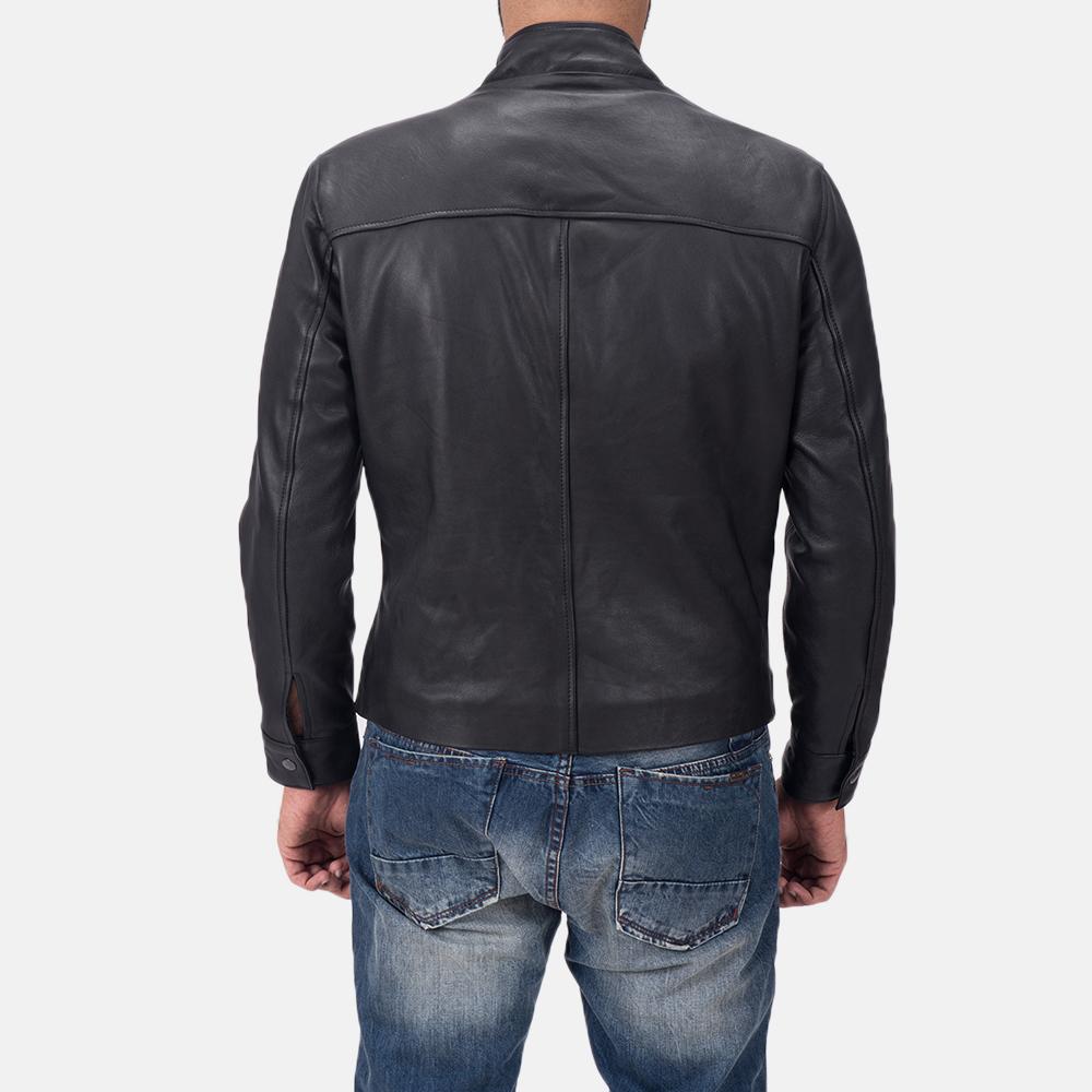 Men's Austere Matte Black Leather Biker Jacket 5